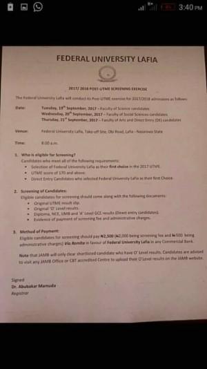 FULAFIA Post-UTME 2017: Cut-off Mark Eligibility And Registration Details