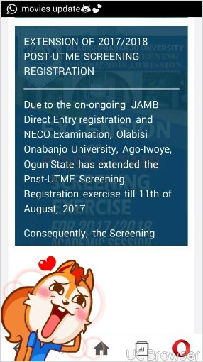 OOU Admission Screening Date and Registration Deadline For 2017 Postponed