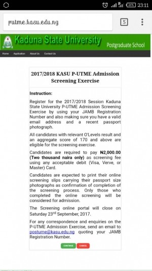 KASU Post-UTME 2017: Screening, Cut-off Mark And Registration Details