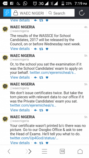 WAEC 2017 May/June Result To Be Released Next Week