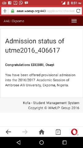 AAU Merit Admission List 2016/2017 Released