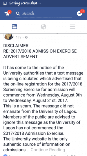 UNILAG Releases A Disclaimer on Admission Screening Exercise 2017/2018