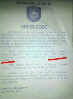 UNILORIN Releases Circular on Dress Code
