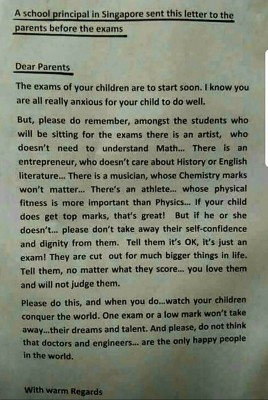 A School Principal Sent This Letter to Parents Just Before an Exam
