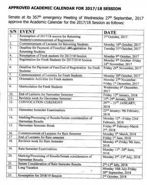 OOU Approved Academic Calendar for 2017/18 Session
