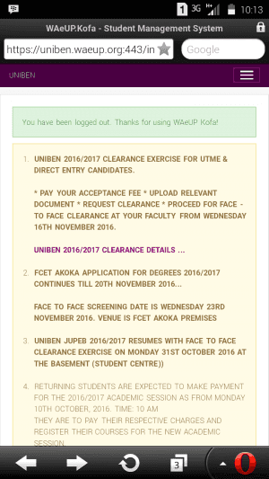 uniben resumption date and clearance exercise for new students
