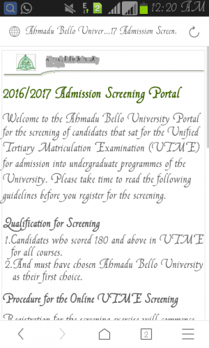 ABU Admission Screening Registration 2016/2017 Announced