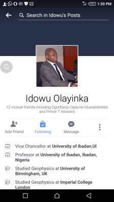 See The Clap Back a Student Got From Prof. Idowu Olayinka, UI Vice Chancellor