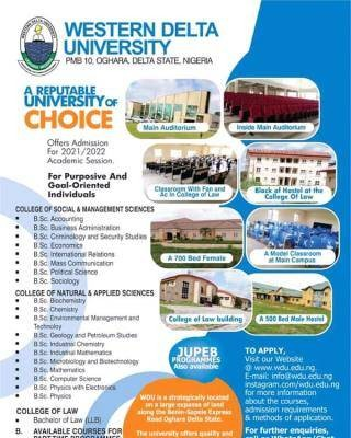 Western Delta University Post-UTME/DE 2021: Cut-off mark, Eligibility and Registration Details