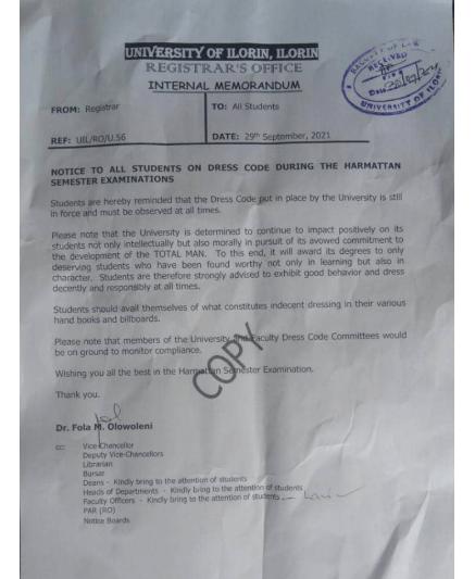 UNILORIN notice on dress code during the harmattan semester examination