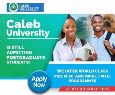 Caleb University Postgraduate Admission for 2021/2022 session