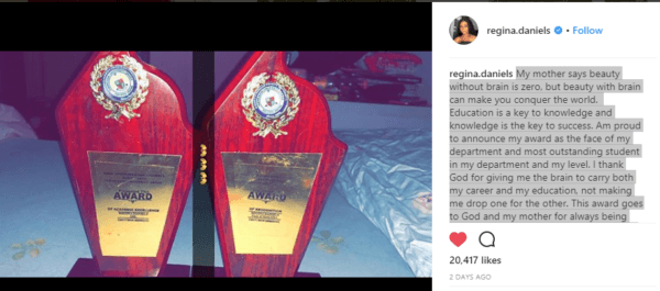 Actress, Regina Daniels Bags Two Awards in Igbinedion University