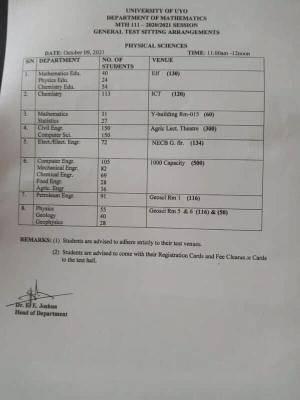UNIUYO Test sitting arrangements department of mathematics