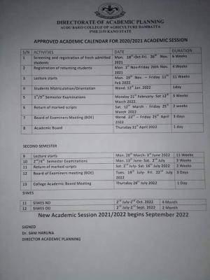 Audu Bako College of Agriculture academic calendar, 2021/2022