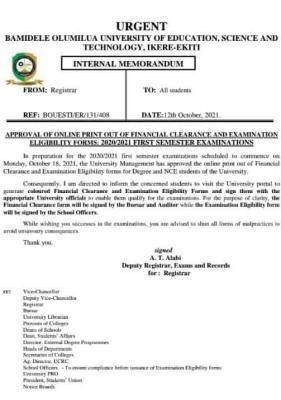 BOUESTI notice on first semester examination, 2020/2021