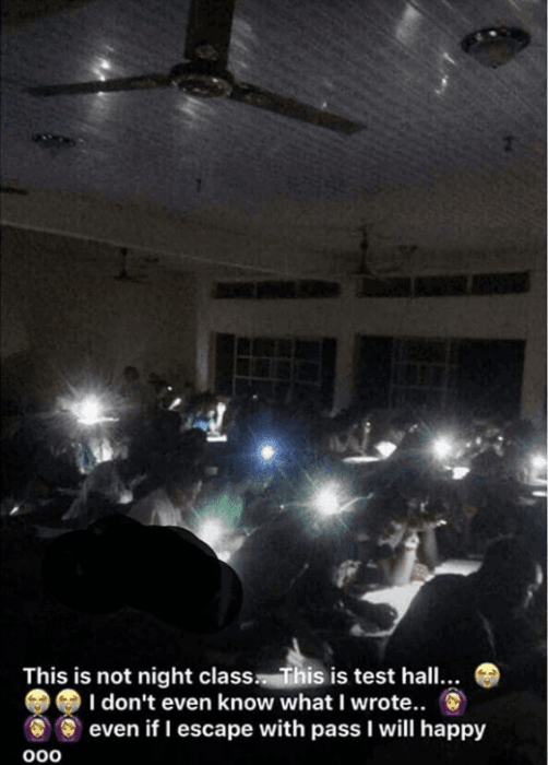 Poly Oko Students Write Test With Phone Torchlight