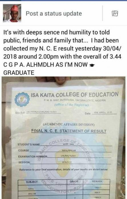 See What A Fresh NCE Graduate Posted Online
