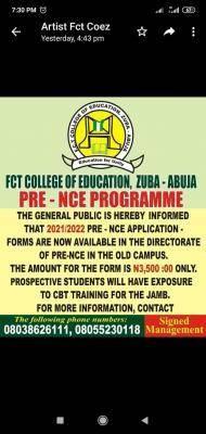 FCE, Zuba Pre-NCE admission, 2021/2022
