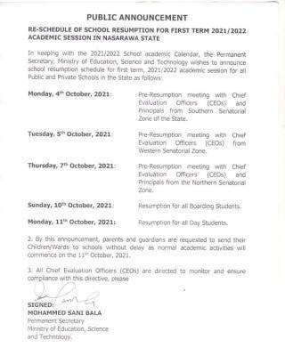 Nasarawa State Government reschedules resumption date for 2021/2022 session