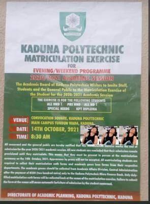 Kaduna Polytechnic evening/weekend matriculation exercise 2020/2021