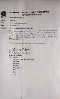 Fed Poly Nasarawa notice on postponed examination