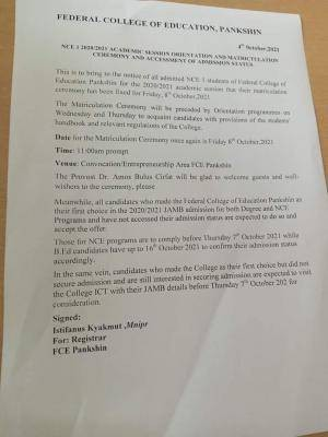 FCE, Pankshin notice on matriculation and acceptance of admission