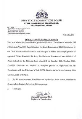 Osun State Government notice to students on placement exam into SS1