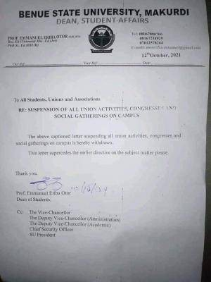 BSUM withdraws notice on suspension of all union activities and social gathering on campus