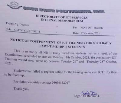 OSPOLY postpones ND II DPT ICT training