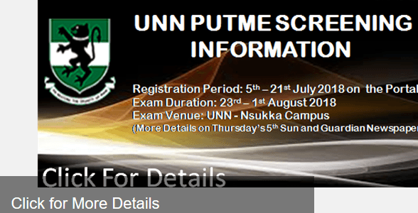 UNN Post-UTME 2018: Screening Dates, Cut-off Mark & Registration Period Announced