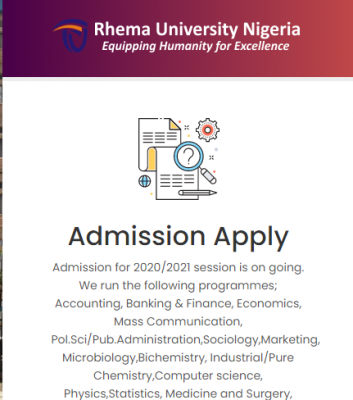 Rhema University Degree, IJMB and CCE admission forms for 2020/2021 session