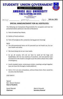 AAU Ekpoma SUG notice to students ahead of resumption