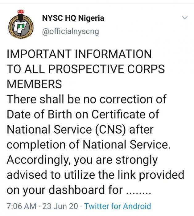 NYSC Issues Stern Warning Against Correction of Date Of Birth