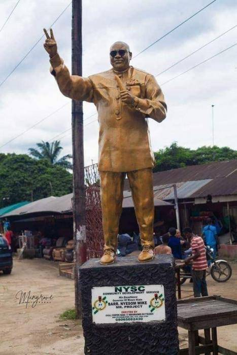 River State Corps Member Erects Statue of Gov. Wike