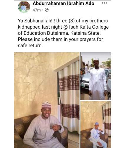 Bandits abduct three sons of Katsina college deputy provost
