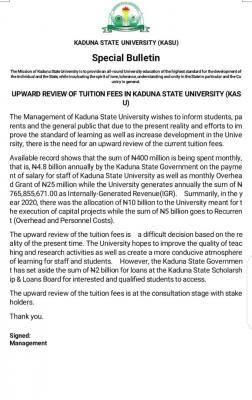 KASU announces upward review of school fees
