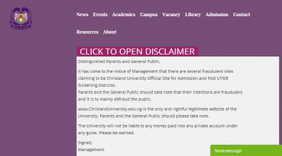 Chrisland University disclaimer notice
