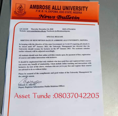 AAU notice on resumption of academic activities