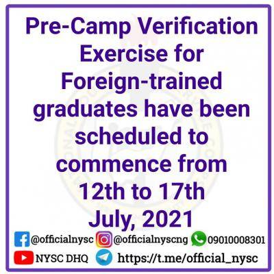 NYSC 2021 Batch 'B' verification schedule for foreign trained graduates