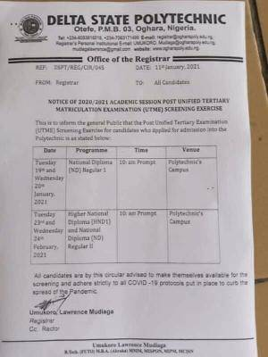 Delta State Polytechnic, Otefe-Oghara Post-UTME/HND screening schedule, 2020/2021