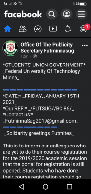 FUTminna SUG notice to students on course registration for 2019/2020 session