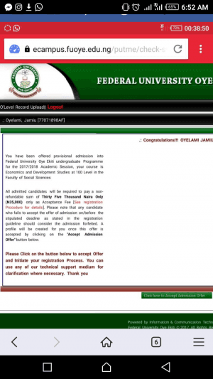 FUOYE Admission List 2017/2018 Released