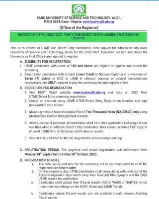 KUST Wudil Post-UTME/DE 2020: Cut-off mark, Eligibility and Registration Details