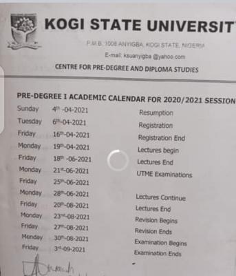 Kogi State University Pre-degree academic calendar for 2020/2021 session