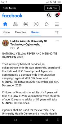 LAUTECH launches campus wide yellow fever and meningitis campaign