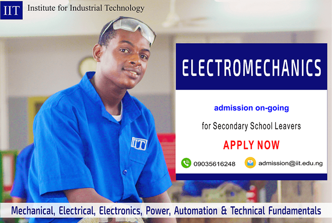Apply for Electromechanics Programme by the Institute for Industrial Technology (IIT), Lagos