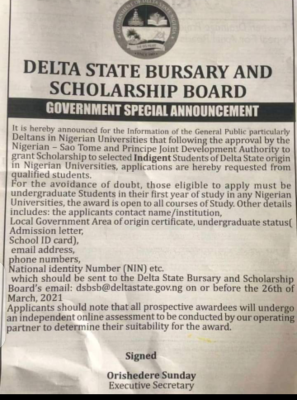 Call for Application: Delta State Bursary and Scholarship Board for Nigerians 2021