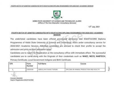 KSUSTA 4th Batch diploma admission list, 2020/2021