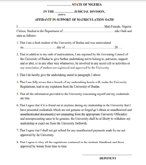 UI's notice to newly matriculated students
