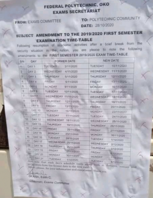 OKOPOLY amended 1st semester exam timetable for 2019/2020